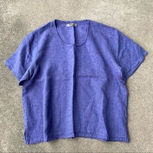 Flax Short Sleeve Linen Top Medium